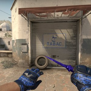 Moto Gloves Polygon + Stiletto Knife Doppler Sapphire
