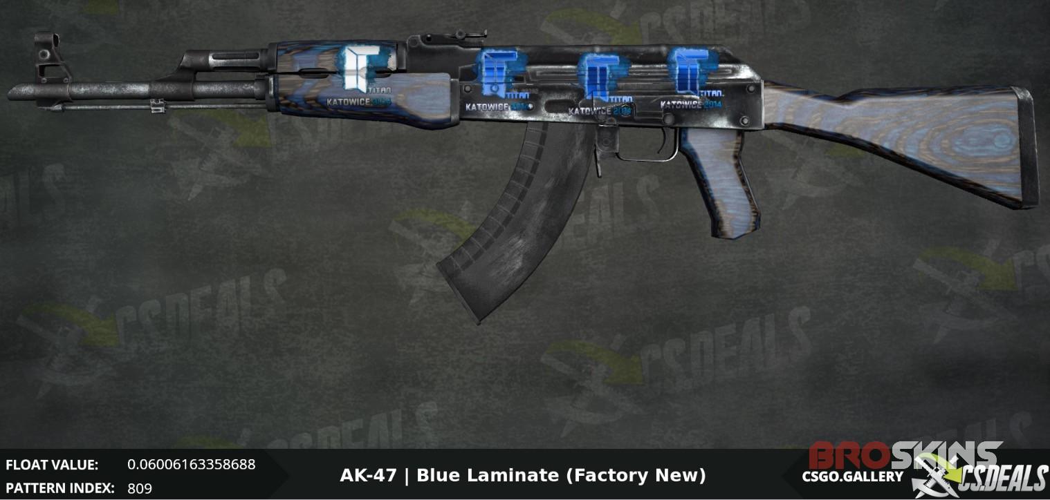 Ak 47 Blue Laminate With 3x An Holo